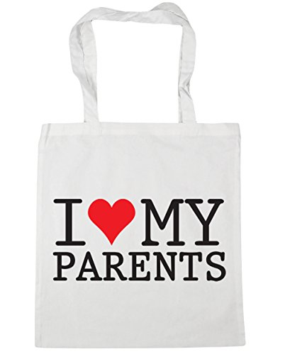 HippoWarehouse I Love My Parents Tote Shopping Gym Beach Bag 42cm x38cm, 10 litres