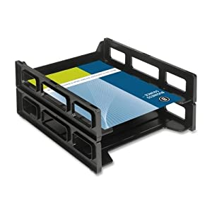"Wholesale CASE of 25 - Bus. Source Front-Load Letter Tray-Letter Tray,Front Load,Stackable,10-1/2""x12-1/2""x3"",Black"