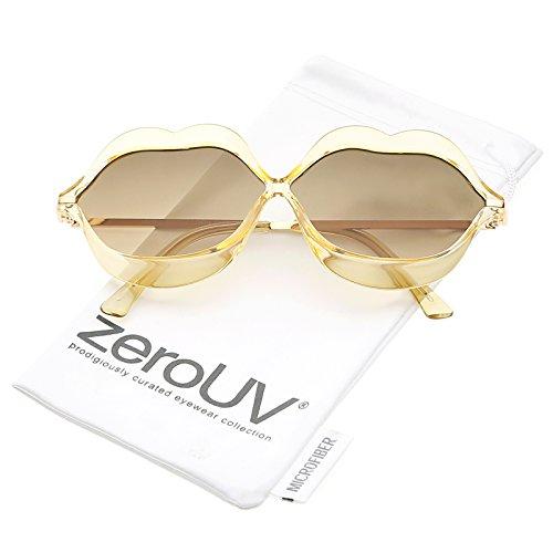 zeroUV - Oversize Transparent Lip Shape Frame Metal Temples Gradient Lens Novelty Sunglasses 63mm (Peach-Gold / Smoke - Glasses Lip