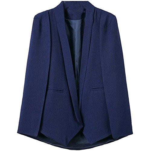 on Cloak Cape Blazer Women Coat Lapel Split Pockets Solid Casual Suit Jacket Workwear Blue L (Santiago Cape)