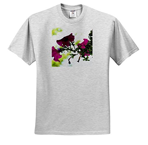 Bush Pink Flowers - Jos Fauxtographee- Flowers in Fuchsia - Pink Flowers on a Bush in The Spring Hanging from a Pot - T-Shirts - Adult Birch-Gray-T-Shirt 2XL (ts_284179_22)