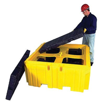 "UltraTech 19 1/2"" X 16"" X 14 1/2"" Ultra-IBC Spill Pallet Plus Yellow Polyethylene Ultra-Bucket Shelf - 1 EA"