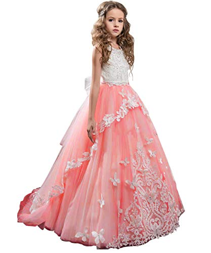 Flower Girl Dress Kids Lace Beaded Pageant Ball Gowns (Size 8, B Coral Pink) ()