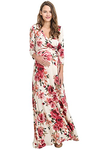 Hello MIZ Women's Floral Print Draped 3/4 Sleeve Long Maxi Maternity Wrap Dress (X-Large, Ivory/Red)