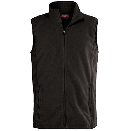 Landway Men's Two Side Zippered Pockets Micro Fleece Vest, Black, Large