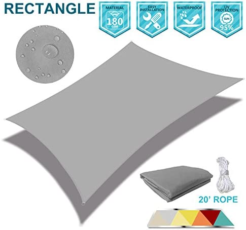Coarbor Waterproof UV Block 8 x12 Sun Shade Sail Canopy Rectangle Polyester for Pergola Carport Awning Patio Yard- Customized Light Grey