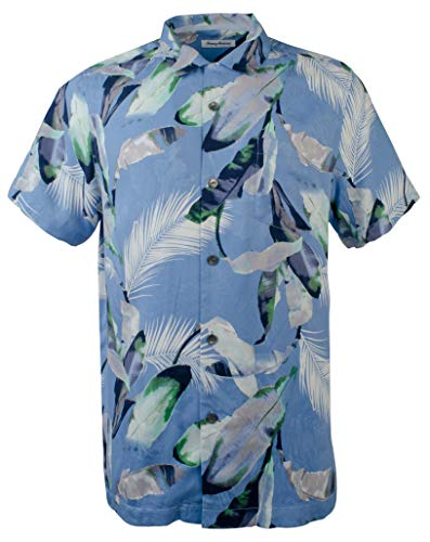 Tommy Bahama Garden of Hope and Courage Silk Camp Shirt (Color: Mountain Bluebell, Size XL)