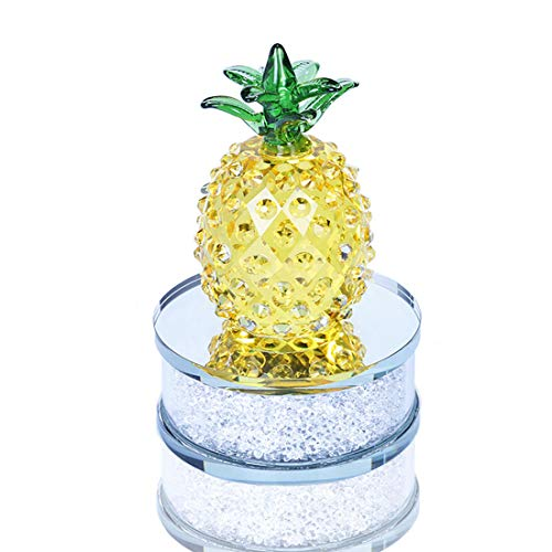 H&D Crystal Glass Paperweight Pineapple Figurine Crystal Ornament Tabletop Centerpiece with Rhinestones Base -