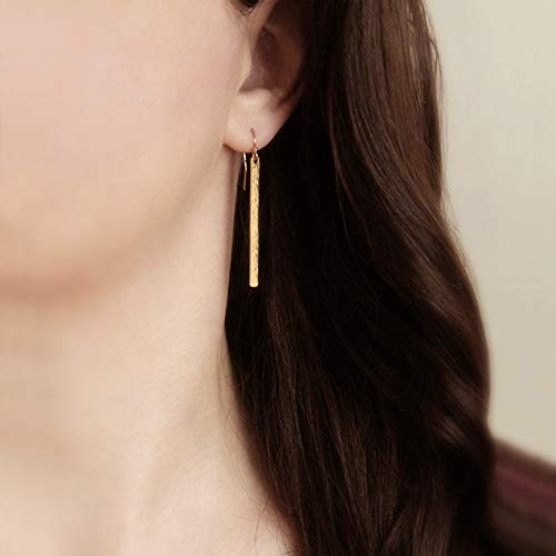 - Hammered Long Bar Earrings, Minimalist Thin Bar Earrings, Line Earrings - 14k Gold Filled Long Dangles