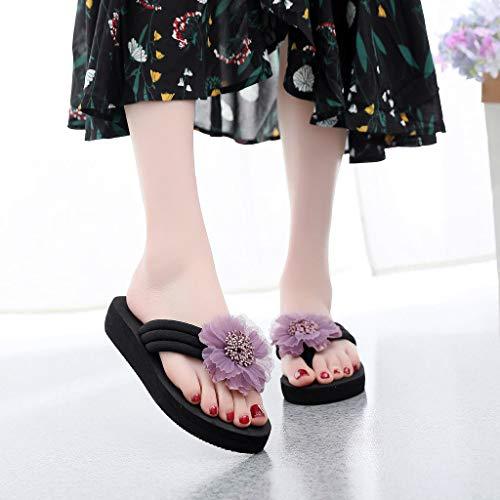 Toe darringls 2019 De sandales escarpins Coin Tongs Maison Été Fleur Violet chaussures chaussures Plage Hauts Femmes talons Tongs Sandwich xOvqTfq