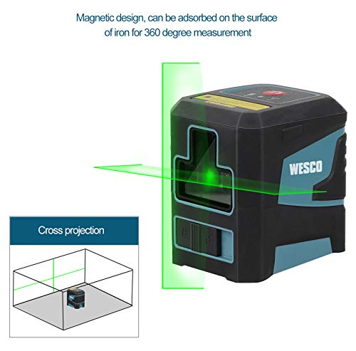 Laser Level, WESCO Self-leveling Green Cross Line Laser, 360° Rotatable, IP54 Dust and Water Protection, Flexible Magnetic Base and Protective Bag /WS8915K