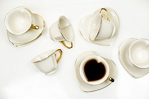 Tea and Coffee Cups with Saucers (Set of 6) by Classic Coffee & Tea|Charming, Inside Out Cups & Heart-Shaped Saucers|Fine Porcelain In Cream with Gold Plated Ends & Handles|Great Gift Idea|6.5 oz ()