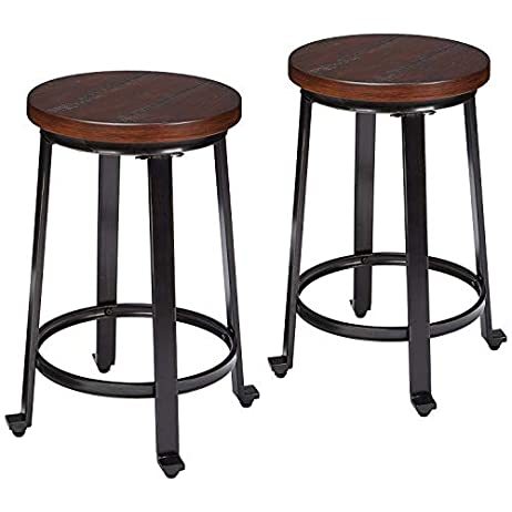 Ashley Furniture Signature Design - Challiman Bar Stool - Counter Height - Set of 2 - Rustic Brown 1