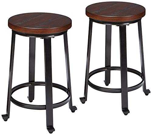 Ashley Furniture Signature Design - Challiman Bar Stool - Counter Height - Set of 2 - Rustic Brown - Dining Bar Stool Room Metal