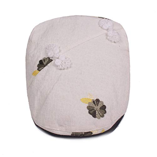 - Lady's Cotton Linen Ivy Cap Floral Decoration Women Beret Flat Newsboy Caps Hats,White,55to60cm