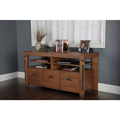 Industrial Collection Rough Sawn Wood Credenza Console with 3 Lateral File Drawers Lateral File Console