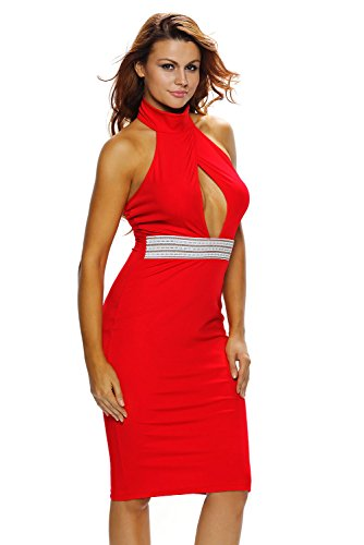 Out Club Party Women's Peep Neck Red Halter Sheer Cut Dress Sexy Mock Evening Bodycon Hole CutePaw OfPw8nqn