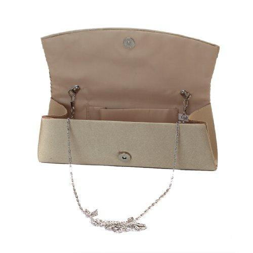 Bag Clutch Handbag Rhinestones Evening Black Adorn Women's Purse Lady Large Pleated Satin Damara Party YzHpwqc