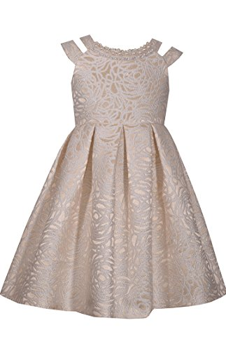 Bonnie Jean Big Girls 7-16 Beaded Neckline Jacquard Dress (Gold, 14)