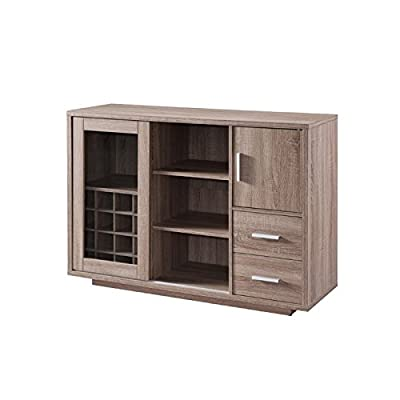 BOWERY HILL Wine Rack Buffet in Weathered Wood - Finish: Weathered Wood Materials: Wood Veneers, Glass, Metal Contemporary style dining buffet cabinet - sideboards-buffets, kitchen-dining-room-furniture, kitchen-dining-room - 41ubxv9CIKL. SS400  -