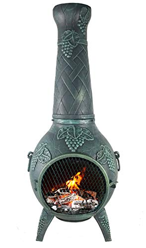 The Blue Rooster CAST ALUMINUM Grape Chiminea with Gas and a 10' hose in Antique Green. Also comes with a free year round cover.
