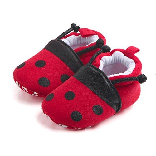 Babyschuhe Longra Baby Mädchen Jungen Lovely Kleinkind erste Wanderer Baby Krabbelschuhe runde Zehe flache weiche Pantoffel Lauflernschuhe(0 ~ 12 Monate) Red