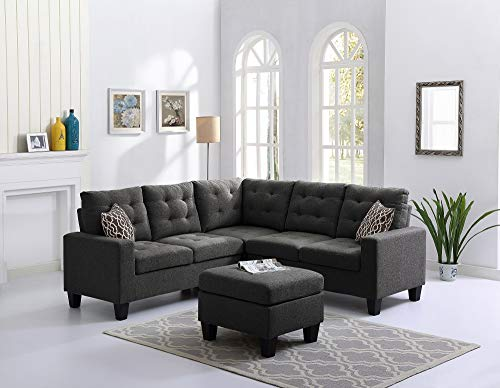 - Oadeer Home 4-Piece Soft Linen Reversible Sectional Sofa Set, 2 LAF/RAF Loveseat, 1 Corner Wedge, 1 Armless Chair (Ash Black)