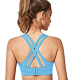 Yvette Women's Criss Cross Back Compression Sports Bra-High Impact Support Full Figure Plus Size Strappy Workout Bra, Classic Blue, L(D-F)