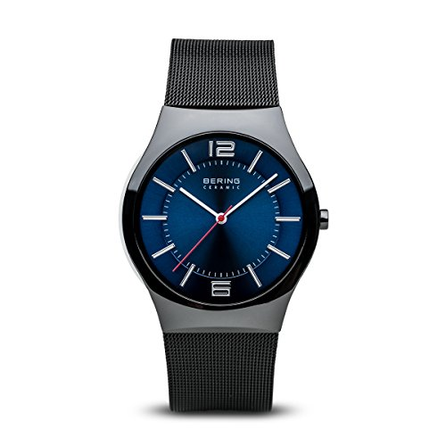 BERING Time 32039-447 Mens Ceramic Collection Watch with Mesh Band and Scratch Resistant Sapphire Crystal. Designed in Denmark.