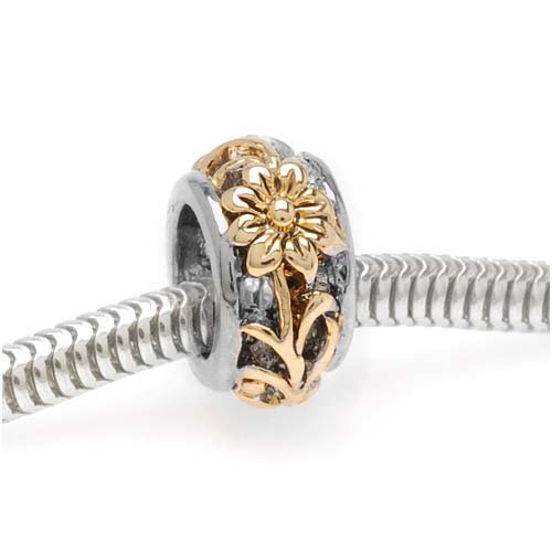 (Beadaholique Floral Cut Out Large Hole Bead, Fits Pandora, Gold Plated Silver Tone)