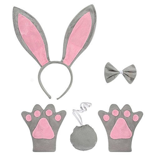 Make A Bunny Tail Costume (ACTLATI 5 Pcs/Set Cute Headband Bowtie Tail Paws Bunny Cosplay Party Rabbit Ears Child Kids Fancy Dress Kit Grey)