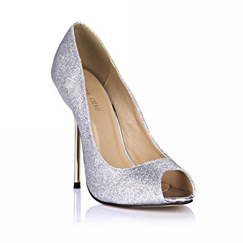 CHMILE CHAU Damenschuhe-Pumps Stiletto-Dünne Fersen-Hoher Absatzschuhe-Metall Absatz-Sexy-Modisch-Abiball-Brautschuhe-Abendschuhe-Peep Toe Silber-Glittering