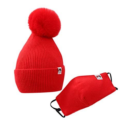 MiMiey Baby Mütze Beanie Strickmütze Wintermützen Winter Beanie Strickmütze Skimütze Wintermütze mit Bommel Gestrickt Babymütze Unisex Mädchen Jungen (Rot)