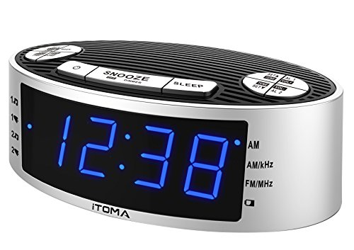 ITOMA Alarm Clock Radio with Digital AM FM Radio, Dual Alarm with Snooze and Sleep Timer, Dimmer Control, Auto Time Setting, Backup Battery, External Wire Antenna (CKS3301)