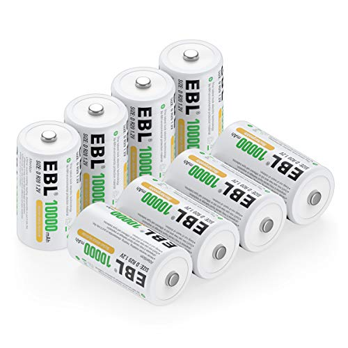 EBL Pack of 8 10000mAh Ni-MH D Cells Rechargeable Batteries, Battery Case Included (Best Rechargeable D Batteries)