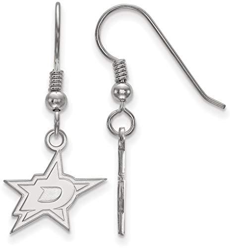 Logoart Dallas Stars Earring - Sterling Silver NHL Dallas Stars Small Dangle Earrings by LogoArt