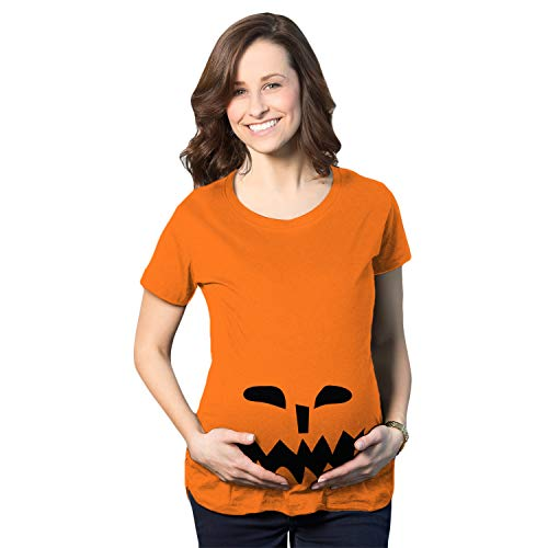 Maternity Spikey Teeth Pumpkin Face Halloween Pregnancy Announcement