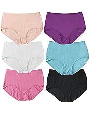 LingDooo Women Bamboo Fiber Underwear Briefs Basic High Waist 6Pack Soft Breathable Stretch Underpants