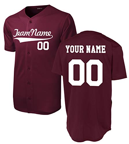 Family Baseball Jersey - Custom Short-Sleeve Button-Down Baseball/Softball Jersey (Unisex, Adult Sizes) - Add Your Team, Name, Number Maroon