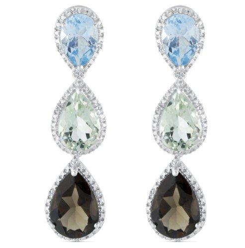 Sterling Silver Triple Teardrop Dangle Gemstone Earring, Set with .08 Cttw Diamonds (Blue Topaz/Green Amethyst/Smokey Quartz) by Quality Jewels