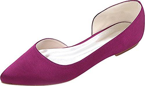 Party Flats Work Prom Satin Dress orsay 08 Simple Purple Fashion Pumps EU Ladies Pointed Toe Wedding D Comfort Bridesmaid 2046 37 Bride fqaC8Cw4