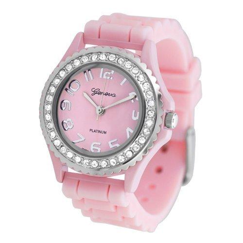 (Geneva Platinum CZ Accented Silicone Watch, Small Face)