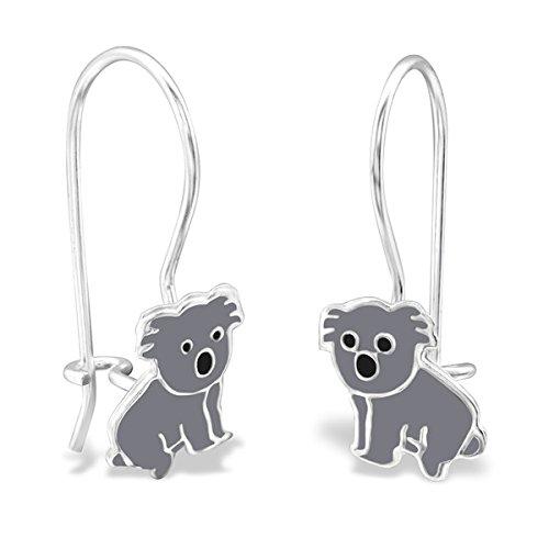 So Chic Bijoux © Enfant Boucles d'oreilles Koala Email Couleur Argent 925