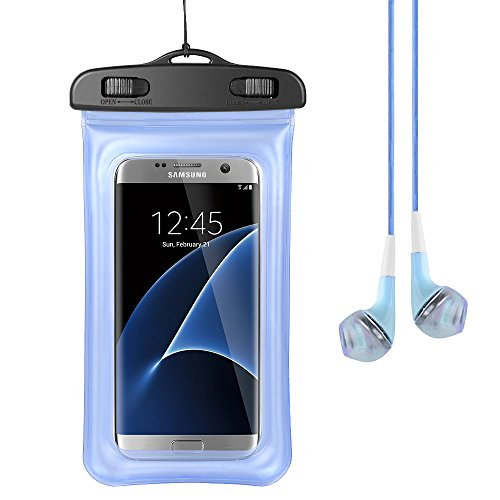 Price comparison product image Touch Screen Waterproof Case Universal PVC Dustproof Cover for ZTE Blade X Max / Max 3 / A2 Plus / V8 pro / V7 Max / Nubia Z17 / Max XL / Hawkeye / Grand X 4 / Warp 7 / Zmax Pro + VG Earphone Blue
