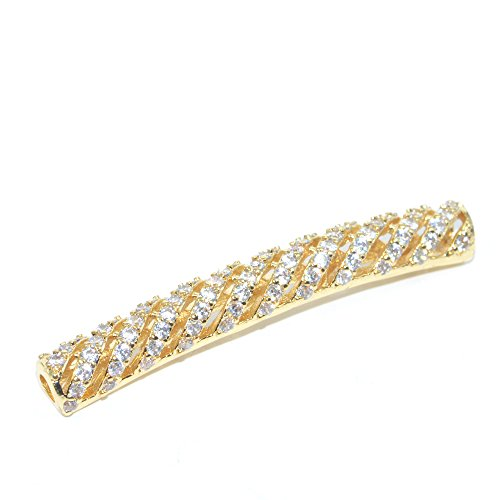 DongStar Jewelry Premium Quality Findings Cooper Paved Connector Bead Cubic Zirconia Crystal Quality Style Paved Spiral Tube Bracelet Charm Plated (Swarovski Crystal Tube Bracelet)