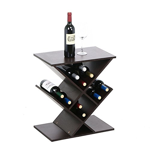 Brown Wine Rack Bottle Holder Table Storage Bar Wood Liquor Cabinet Decor Home by Top Store Discounts