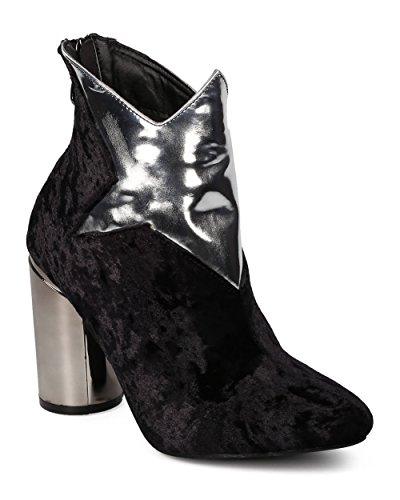 Women By Bootie Cosplay Star Robbin Black Heel Costume Heel Bootie Cape Velvet GE28 Block Dressy Round q70w7rI