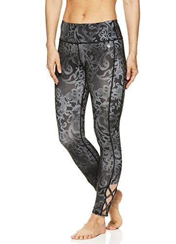 Nicole Miller Active Women's 7/8 Workout Leggings Performance Activewear Pants w/Elastic Inserts - Spitze Black, Large