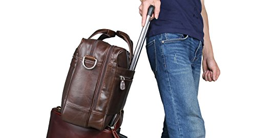 Polare Real Soft Nappa Leather 17 Laptop Case Professional Briefcase Business Bag For Men (Black) by Polare (Image #6)