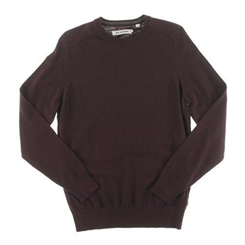 Ben Sherman Mens Long Sleeve Solid Pullover Sweater Red (Ben Sherman Cotton Sweater)